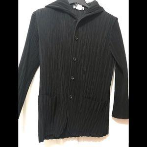 Issey Miyake black silk weave cardigan jacket.
